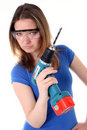 Free Tough Woman With Power Drill Royalty Free Stock Images - 19349879