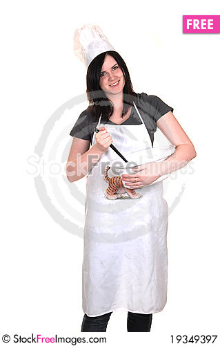 Free Girl With Cook Pot. Royalty Free Stock Photography - 19349397