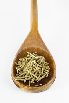 Rosemary In Wooden Spoon Royalty Free Stock Image