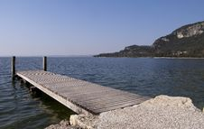Floating Dock In Garda Stock Image