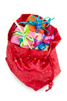 Gift Boxes In A Red Bag Stock Images