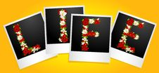 Word From Flowers In Photo Frames Royalty Free Stock Image