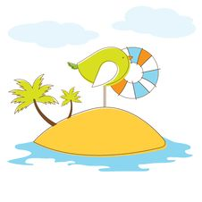 Free Bird In Island. Vector Illuatration Royalty Free Stock Images - 19343659