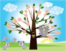 Free Tree ,owl And Sheep Stock Photos - 19344013