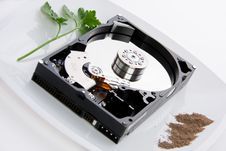 Free Hard Disk On A Dish Royalty Free Stock Images - 19344189