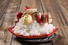 Free Chicken Shish Kebab And Rice Stock Photos - 19344343