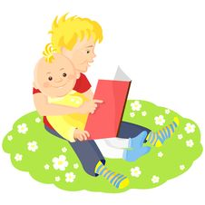 Free Vector Boy Is Reading A Book To His Younger Brothe Royalty Free Stock Image - 19344746