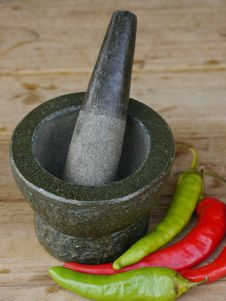Free Stone Mortar And Pestle With Chili Stock Images - 19344844