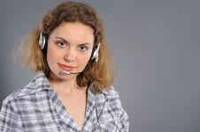 Free Female Customer Service Representative In Headset Stock Image - 19345641