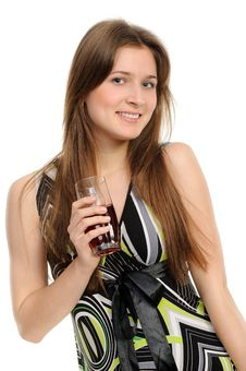 Free Young Woman With Glass Of Juice Royalty Free Stock Photo - 19345645