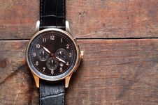 Free Wristwatch On Wood Stock Images - 19345984