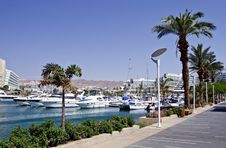 Docked Yachts And Boats In Marina Of Eilat, Israel Royalty Free Stock Images