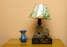 Retro Table Lamp And Vase Royalty Free Stock Photo