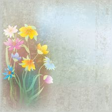 Free Abstract Grunge Composition With Flowers Royalty Free Stock Photo - 19346935