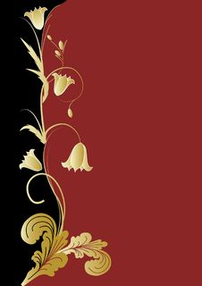 Free Flowers  On Black And Red Background Royalty Free Stock Photos - 19347888