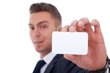 Business Man Handing A Blank Business Card Stock Photography