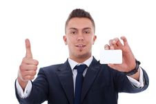 Free Business Man Showing A Blank Business Card Stock Photo - 19347950