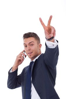 Free Businessman Making Victory Sign Royalty Free Stock Photography - 19347957