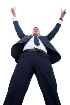 Happy Successful Gesturing Business Man Stock Photo