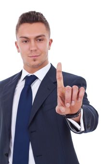 Free Business Man Pressing An Imaginary Button Stock Image - 19348021