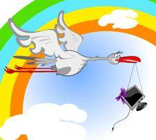 Free Stork And Monitor Royalty Free Stock Photo - 19348045