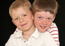 Two Adorable Young Brothers Royalty Free Stock Images