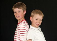 Two Adorable Young Brothers Stock Photo