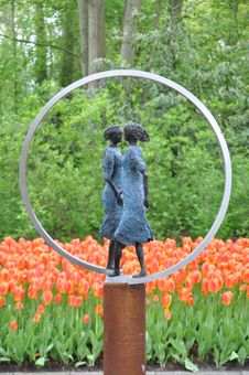 Sculpture With Dutch Tulips Royalty Free Stock Image