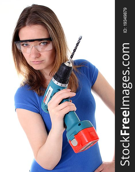 Tough woman with power drill