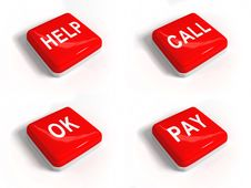 Free A Set Of Red Buttons With Text Royalty Free Stock Photo - 19350355