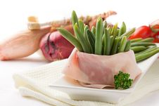 French Beans With Wrapped Ham Stock Photos