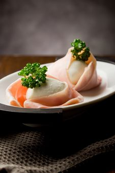 Free Mozzarella With Wrapped Ham Stock Photography - 19350762