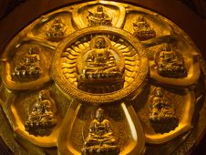 Free Buddha On Lotus Carved Wood Royalty Free Stock Photos - 19350788