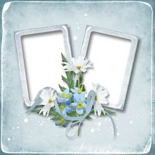 Photo Frame With Flowers Royalty Free Stock Image