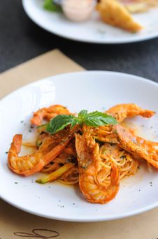 Free Spaghetti Prawn Stock Photography - 19352672