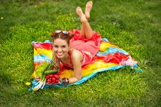 Beautiful Happy Woman With Colourful Vegetables Royalty Free Stock Photo