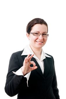 Young Businesswoman Indicating Ok Sign. Royalty Free Stock Photography