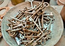 Free A Lot Of Old Brass Key Stock Photos - 19354793