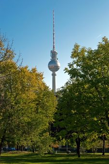 Free Berlin Television Tower Between Trees Stock Photography - 19354882