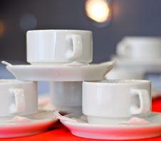 Three White Porcelain Tea Cups Royalty Free Stock Image