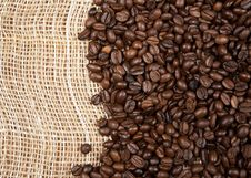 Free Coffee Beans On A Canvas Royalty Free Stock Photography - 19355327