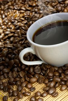 Coffee Cup With Roasted Beans Stock Image