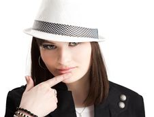 Girl In The Hat Stock Images