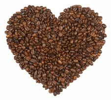 Heart Shape Made From Coffee Beans Royalty Free Stock Image