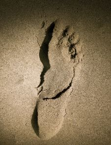 Foot Print On Sand Royalty Free Stock Photo