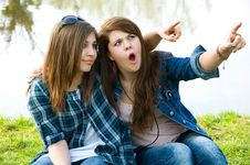 Two Surprised  Young Teens Stock Images