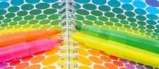 Free Markers And Colorful Notebook Royalty Free Stock Images - 19358619