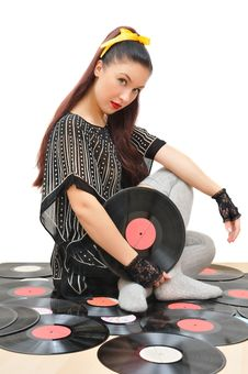 Stylish Girl With Vinyl Discs Royalty Free Stock Photography