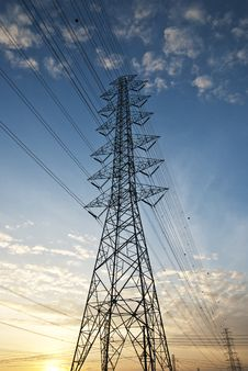 Free High Voltage Electric Power ,sunset Royalty Free Stock Image - 19359016