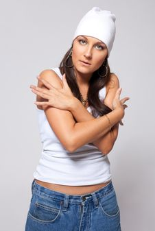 Young Beauty Girl In Hat And Jeans - Tomboy Style Royalty Free Stock Image